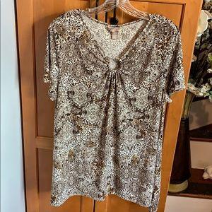 EUC Pretty Brown Print White Stag Top size XL